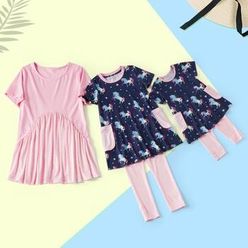 Mosaic Family Matching Mom and Me Stripe Top Sister Unicorn Top and leggings Set for Mom - Girl - Baby