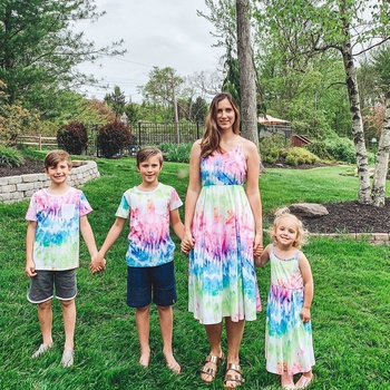 Mosaic Family Matching Tie-Dye Tank Dresses Pocket T-shirt for Dad-Mom-Boy-Girl-Baby