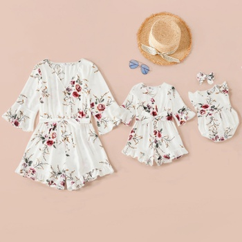 Mommy and Me Printed V-neck Midi-sleeve Sling Rompers