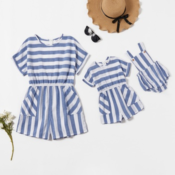 Mommy and Me Striped Short-sleeve Rompers