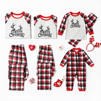 Merry Christmas Letter Print Plaid Family Matching Pajamas Sets (Flame Resistant)