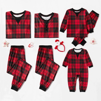 Christmas Black and Red Plaid Family Matching Pajamas Sets (Flame Resistant)