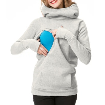 Casual Solid High Collar Nursing Hoodie