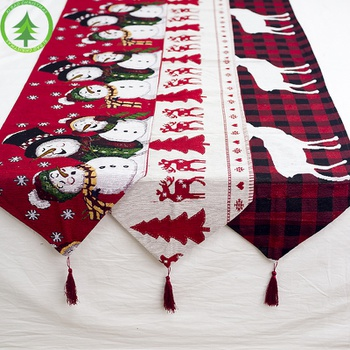 Christmas Linen Embroidery Snowman Elk Table Decor