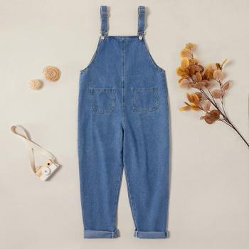 Trendy Solid Denim Suspender Pants