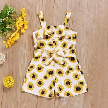 Sunflower Print Slip Romper