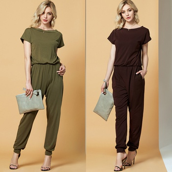 Chic Pocket One Shoulder Jumpsuit