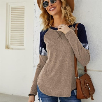 Round collar Color Block Color block long sleeve casual T-shirt