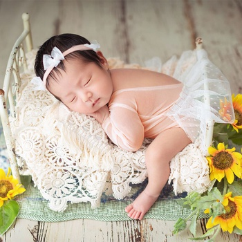 Baby Girl Lace Romper Newborn Photography Prop Headband Set Baby Shower Gift