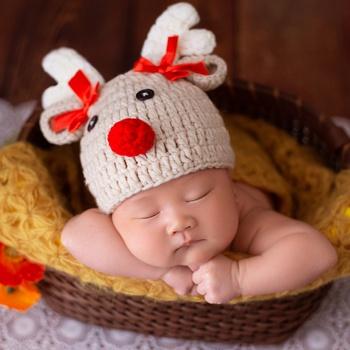 Christmas Deer Newborn Cartoon Crochet Knitted Bowknot Baby Hat Photography Props 0-2 Month