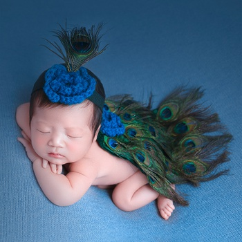 2PCS Peacock Feather Knitting Newborn Photography Props Baby Sets