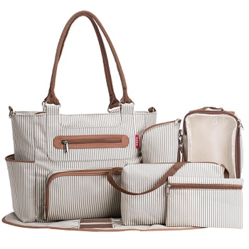 Stylish Striped Large Capacity Diaper Bags Set