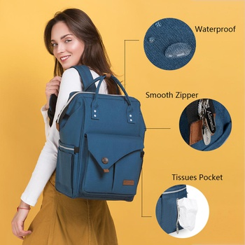 Multicolorful Diaper Bag Backpack Large Capacity, Waterproof Maternity Baby Changing Bags with Stroller Strap