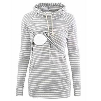 Casual Striped Long-sleeve Nursing Hoodie