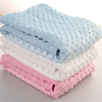 Dotted Fleece-lining Baby Blanket Swaddling Newborn Soft Bedding