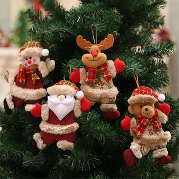 4-pcs Christmas Dolls Retractable Santa Claus Snowman Bear Reindeer Kid Red Tree Ornament Gift