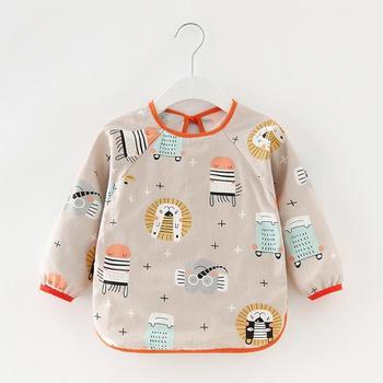 Baby Cartoon Animal Long Sleeve Bibs Waterproof Reversible Bandana Bibs Children Eating Drawing Apron Toddler Feeding Burp Cloth