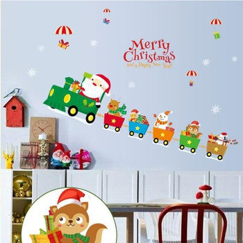Christmas Santa Claus Small Train Window Sticker