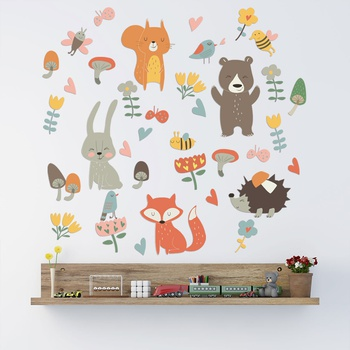 Cartoon Animal Rabbit Bear wall decoration wallpaper stickers kindergarten baby bedroom children room Decoration