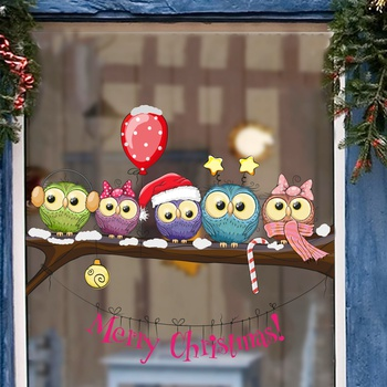 Christmas-dressed Owl On A Tree Branch Wall Stickers Christmas DIY self-adhesive Stickers