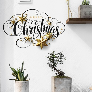 DIY Merry Christmas Wall Stickers Window Glass Stickers Christmas Decorations For Home Christmas Ornaments