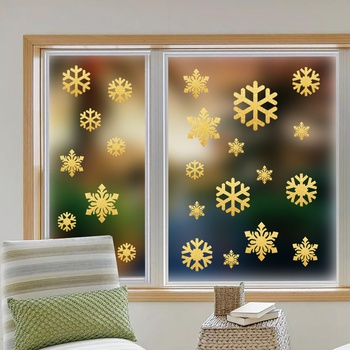 Gold Christmas Snowflake Window Clings Glitter Silver Snowflake Window Stickers For Xmas Holiday Wonderland