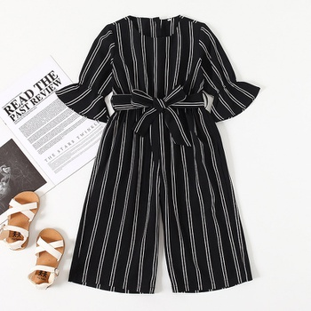 Baby / Toddler Bowknot Striped Long-sleeve Jumpsuit