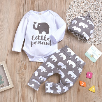 3-piece Baby LITTLE PEANUT Elephant Bodysuit and Pants with Hat Set