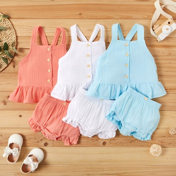 Solid Slip  Botton Front Top and Shorts Set