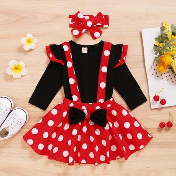 3-pcs Baby Girl Polka Dot Sweet Suit-dress Cute Sweet NEW Newborn Infant Baby Girls Kids Winter Dress Long Sleeve Cotton Bow Dress Outfits Party