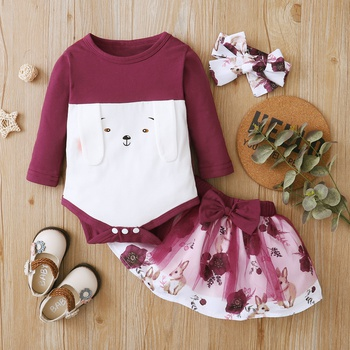 1pc Baby Girl Animal & Rabbit Sweet Long-sleeve Cotton Romper Suit-dress