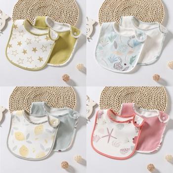 2-pcs Adorable Cotton Baby Bibs Newbron Toddler Kids Burp Cloth Feeding Apron Baby Saliva Towel Scarf Bandana Bibs Toddler Stuff