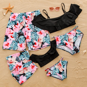 Off-shoulder Flounce Floral Print Matching Swimsuits