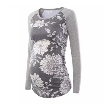 Maternity Round collar Floral full print T-shirt