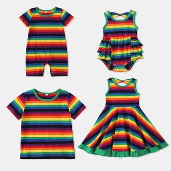 Mosaic Sibling Cotton Rainbow Stripe Brothers T-shirt Sisters Twirling Tank Dresses - Rompers