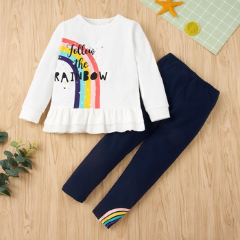2-piece Baby / Toddler Girl Rainbow Letter Print Ruffle Top and Solid Leggings Set