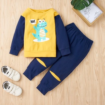 2-piece Baby / Toddler Boy Animal Dinosaur Pattern Pullover and Colorblock Pants Set