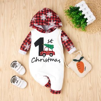 Baby Christmas Plaid Snowflake Hooded Jumpsuit