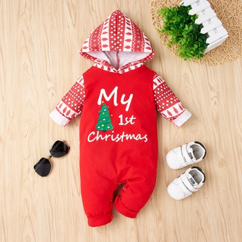 Baby Christmas Tree Hooded Jumpsuit