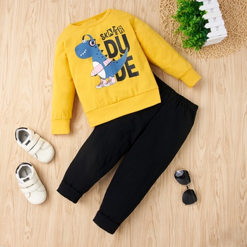 2-piece Baby / Toddler Dinosaur Letter Print Long-sleeve Pullover and Pants Set