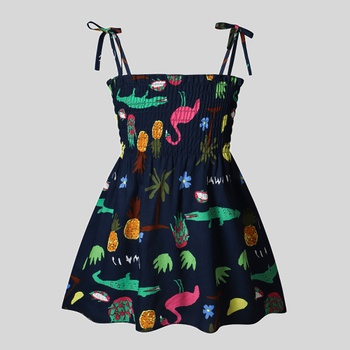 Baby Cartoon Print Jersey Dresses