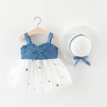 2-piece Baby / Toddler Denim Strappy Splice Tutu Dresses and Straw Hat Sets