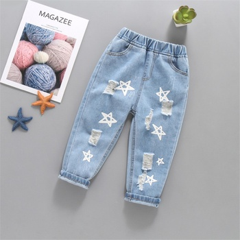 Baby / Toddler Stylish Stars Print Ripped Jeans
