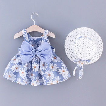 Baby Daisy Print Bowknot Decor Dress with Straw Hat