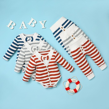 2pcs Baby Boy casual Stripes Baby's Sets Long-sleeve Romper Infant Clothing Outfits