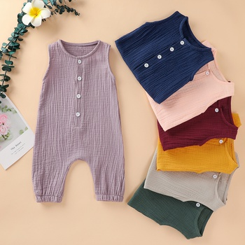 Buttons Front Sleeveless Cotton Jumpsuit