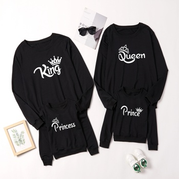 Crown Letter Print Family Matching Sweatshirts