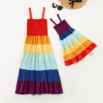 Mommy and Me Rainbow Striped Tank Dresses