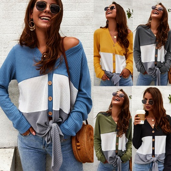 Snappy Color Block Front Knot Long-sleeve Top