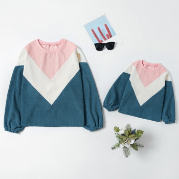 Corduroy Splice Color Lantern Sleeve Sweatshirts for Mom and Me